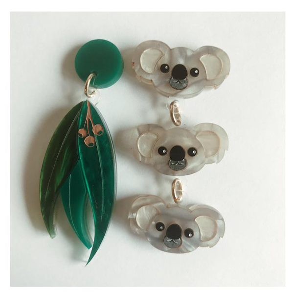 Koala and Gum leaves Dangles by Mox + co