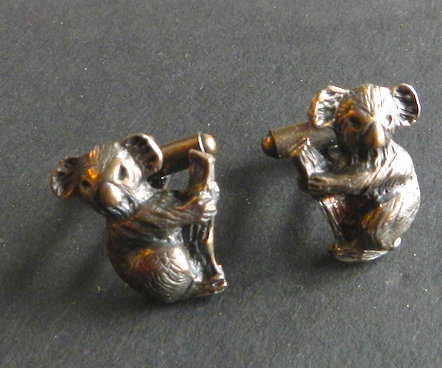 Koala Pewter Cufflinks Antique copper Plated: Peek -a- Boo