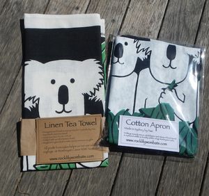 Koala family of 3 Cotton Drill Apron + Linen tea Towel SET
