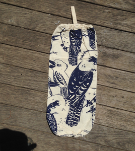 Kookaburra Blue Print Plastic Bag Holder Made in Australia