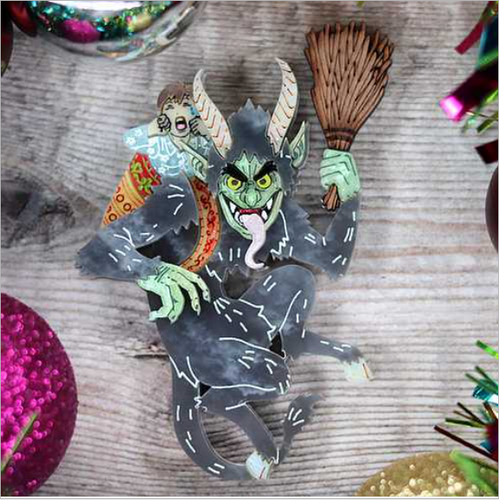 Krampus Brooch   by Gory dorky + gift Rocklily earrings.  late March/ early April  2021 pre order