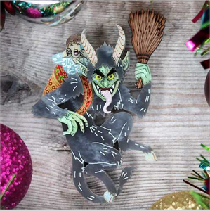Krampus Brooch   by Gory dorky + gift Rocklily earrings. late  April   2021 pre order