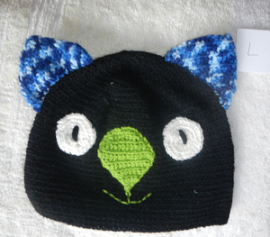Drop bear, Wombat, Koala Hat 100% wool Adult: large Black Blue fleck