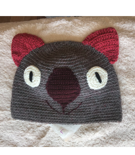 Drop bear, Wombat, Koala Hat  100% wool Large Adult: Brown Dk Pink