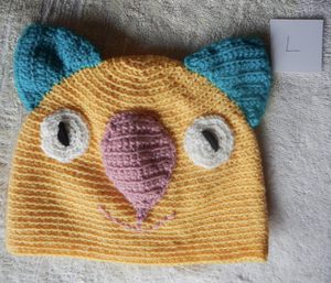 Drop bear, Wombat, Koala Hat 100% wool Adult: large Gold teal