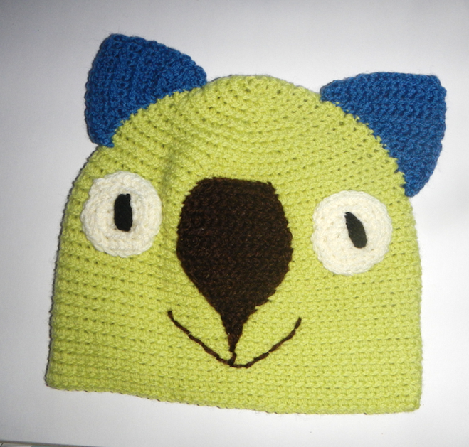 Drop bear, Wombat, Koala Hat 100% wool  X Small Adult: Lime teal