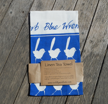 Load image into Gallery viewer, Blue Wren Print on white Linen Tea Towel Made in Australia