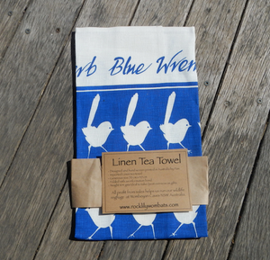 Blue Wren Print on white Linen Tea Towel Made in Australia