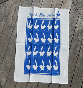 Blue Wren Print on Cotton Drill Apron + Linen Tea Towel set