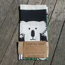 Load image into Gallery viewer, Koala family of 3 Printed Linen Tea Towel