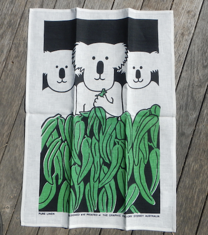 Koala family of 3 Printed Linen Tea Towel