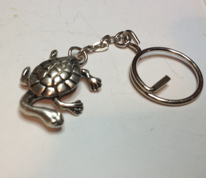 Turtle long necked Pewter Antique Silver Plated Key Ring: Peek-a-Boo