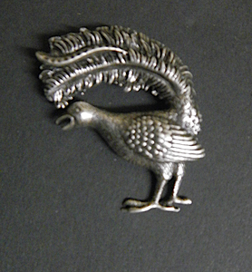 Lyre bird Pewter Antique Silver Plated Brooch: Peek-a-Boo
