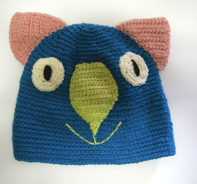 Drop bear, Wombat, Koala Hat 100% wool  Medium Adult: Teal Blue  Pink lime