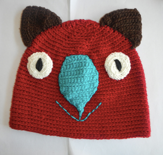 Drop bear, Wombat, Koala Hat 100% wool  Medium Adult: Rust brown teal