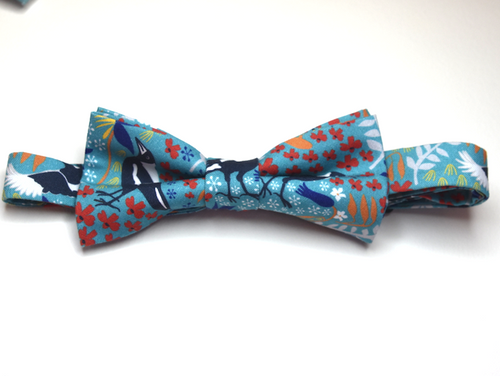 Bow Tie Merry Magpie Teal  Unique Limited Edition By Rocklilywombats