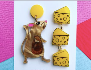 Mouse & Cheese Dangles by Mox + co Due in 20th March