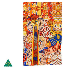 Nora Davidson Aboriginal design tea towel, made in Australia