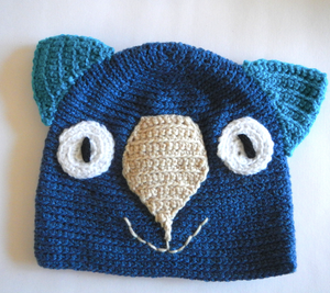 Drop bear, Wombat, Koala Hat 100% wool X Small Adult: Navy.  Navy teal