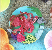 Load image into Gallery viewer, Octopus Gardening Brooch by Gory dorky + shell shaped matching gift Rocklily earrings.  in stock