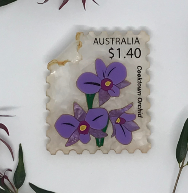 Orchid  Stamp Brooch  by Mox + co  limited edition last ones!!  + rocklily gift earrings