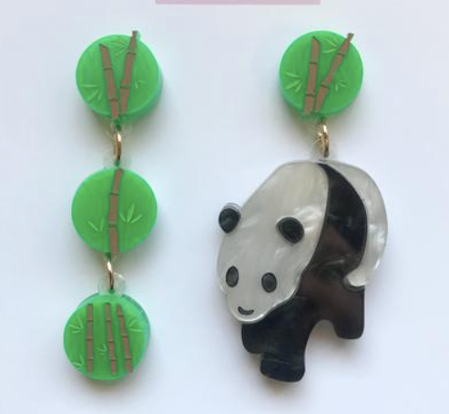 Panda and Bamboo Dangles  by Mox + co