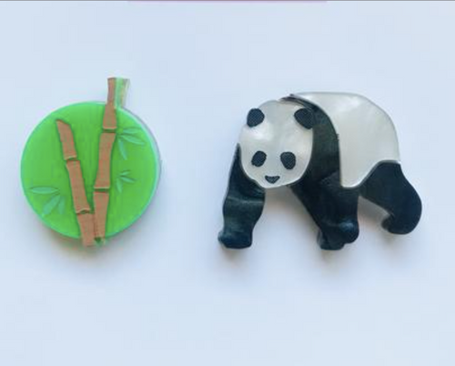 Panda and Bamboo Statement Studs  by Mox + co