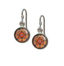 Load image into Gallery viewer, People telling stories earrings round allgeria rocklilywombats