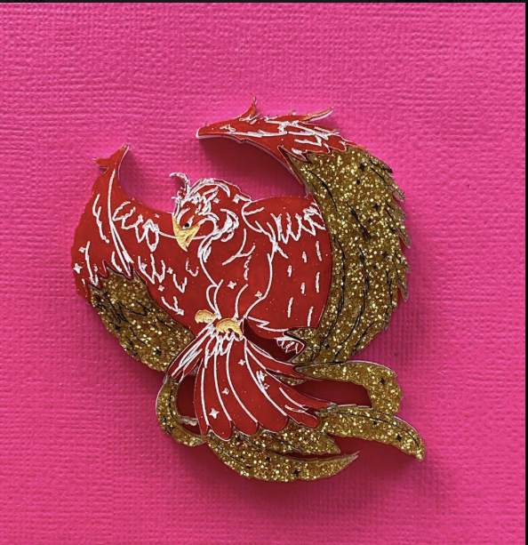 Fiery phoenix Fund Raising  Brooch by Daisy Jean