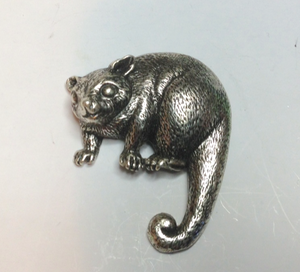 Possum Brooch Pewter Antique  Silver Plated: Peek -a -Boo