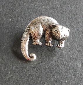 Possum Small Pewter Brooch Antique silver : Peek- a- Boo
