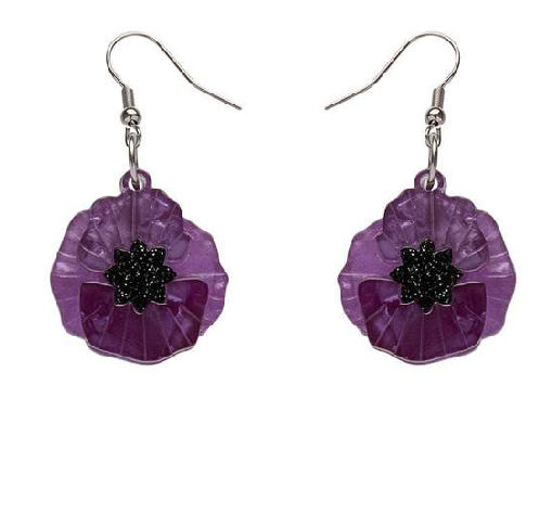 Purple Poppy field  for peace Drop Earrings Erstwilder