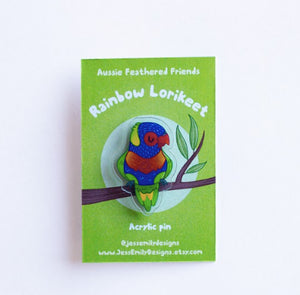 Rainbow Lorikeet  Illustrated Acrylic Pin: for bags, Jackets or a Hat Pin
