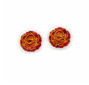 Red Roses in Bloom Studs  by Daisy Jean