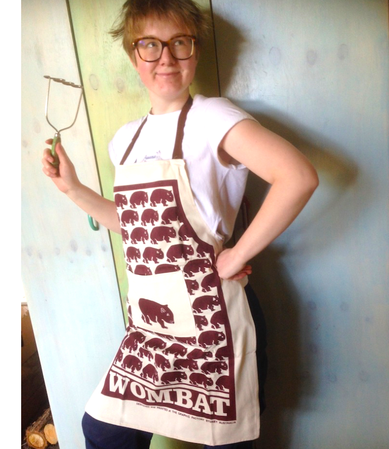 Wombat Rust print Cotton Drill, Pocket  Apron