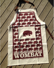 Load image into Gallery viewer, Wombat  Burgandy Print Cotton Drill Apron + Burgundy on white linen tea towel