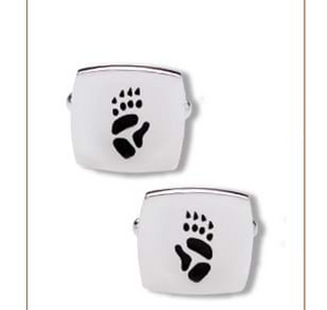 Wombat Silver Footprint CuffLinks  Bushprints made to order.