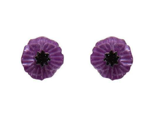 Purple Poppy field  for peace stup Earrings Erstwilder