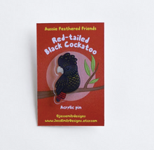 Load image into Gallery viewer, Black Cockatoo Illustrated Acrylic Pin: for bags, Jackets or a Hat Pin