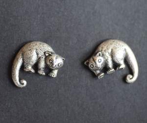 Possum Pewter Cufflinks Antique Silver Plated: Peek -a- Boo