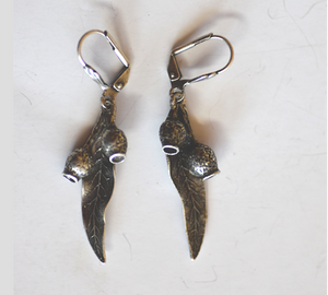 Gum nuts and Leaf Earrings Antique Silver Plated: Peek-a-Boo