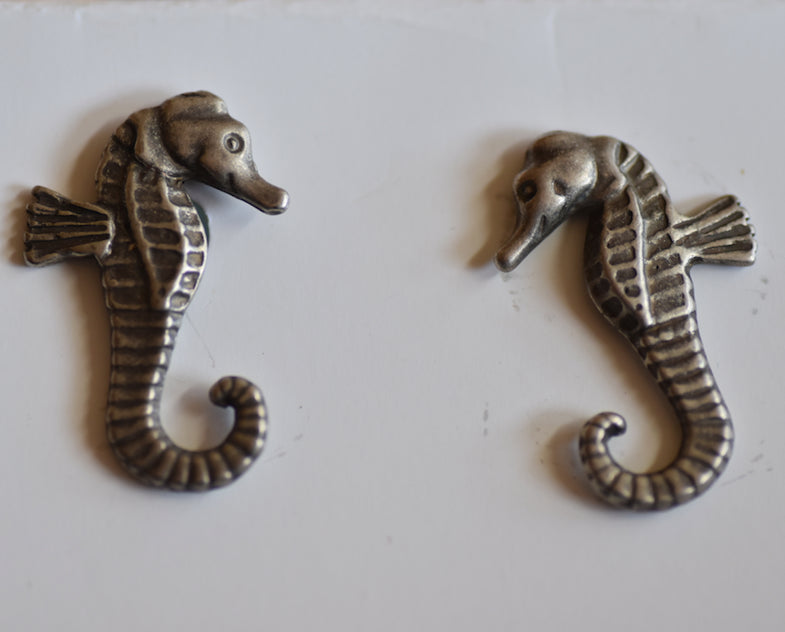 Sea Horse Pot bellied pewter cufflinks- Peek a boo
