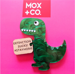 Stay at home Dino Brooch   by Mox + co