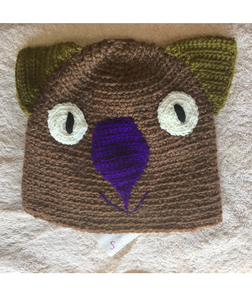 Drop bear, Wombat, Koala Hat 100% wool X  Small Adult: Brown karkai purple