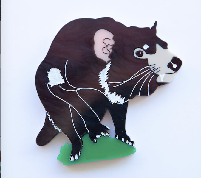 Tracy Tassie Devil Brooch by Daisy Jean + Rocklily gift earrings