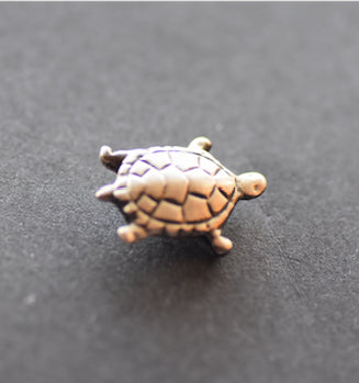 Turtle small  pewter Gold Plated  Pin - Peek-a-Boo