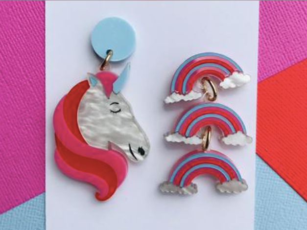 Unicorn & Rainbow Dangles by Mox + co Due in 20th March