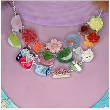 Load image into Gallery viewer, Wagashi Necklace   by Gory dorky + gift heart Rocklily earrings.
