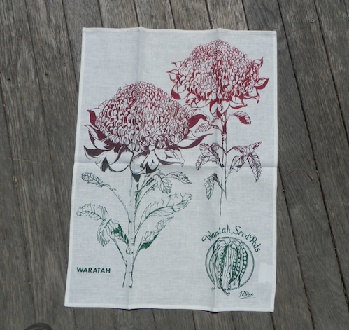 Waratah printed on White Linen Tea Towel Made in Australia