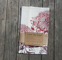 Load image into Gallery viewer, Waratah printed on White Linen Tea Towel Made in Australia
